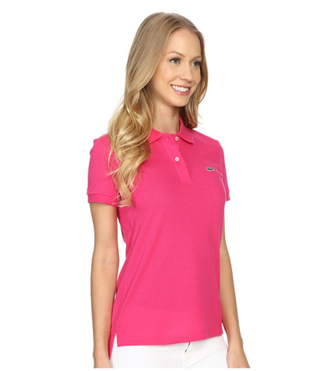 Женская розовая футболка поло Lacoste - розовый - Вид 4