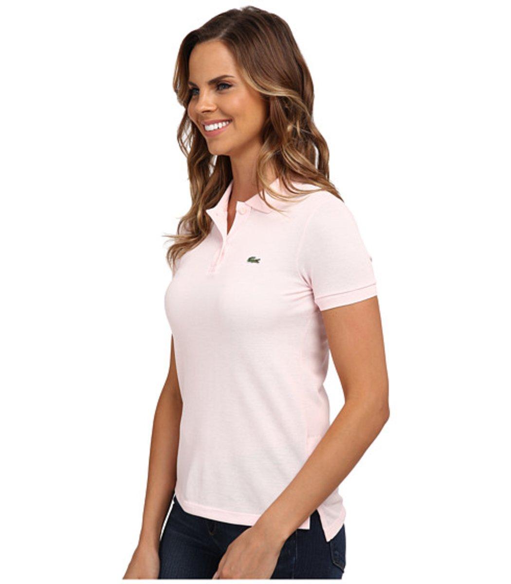 Женская нежно-розовая футболка поло Lacoste