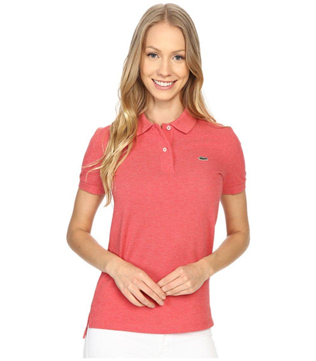 Женская персиковая футболка поло Lacoste - персиковый - Вид 1