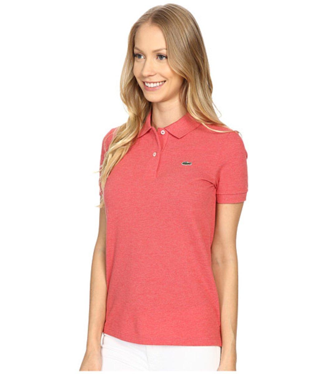 Женская персиковая футболка поло Lacoste - персиковый - Вид 3
