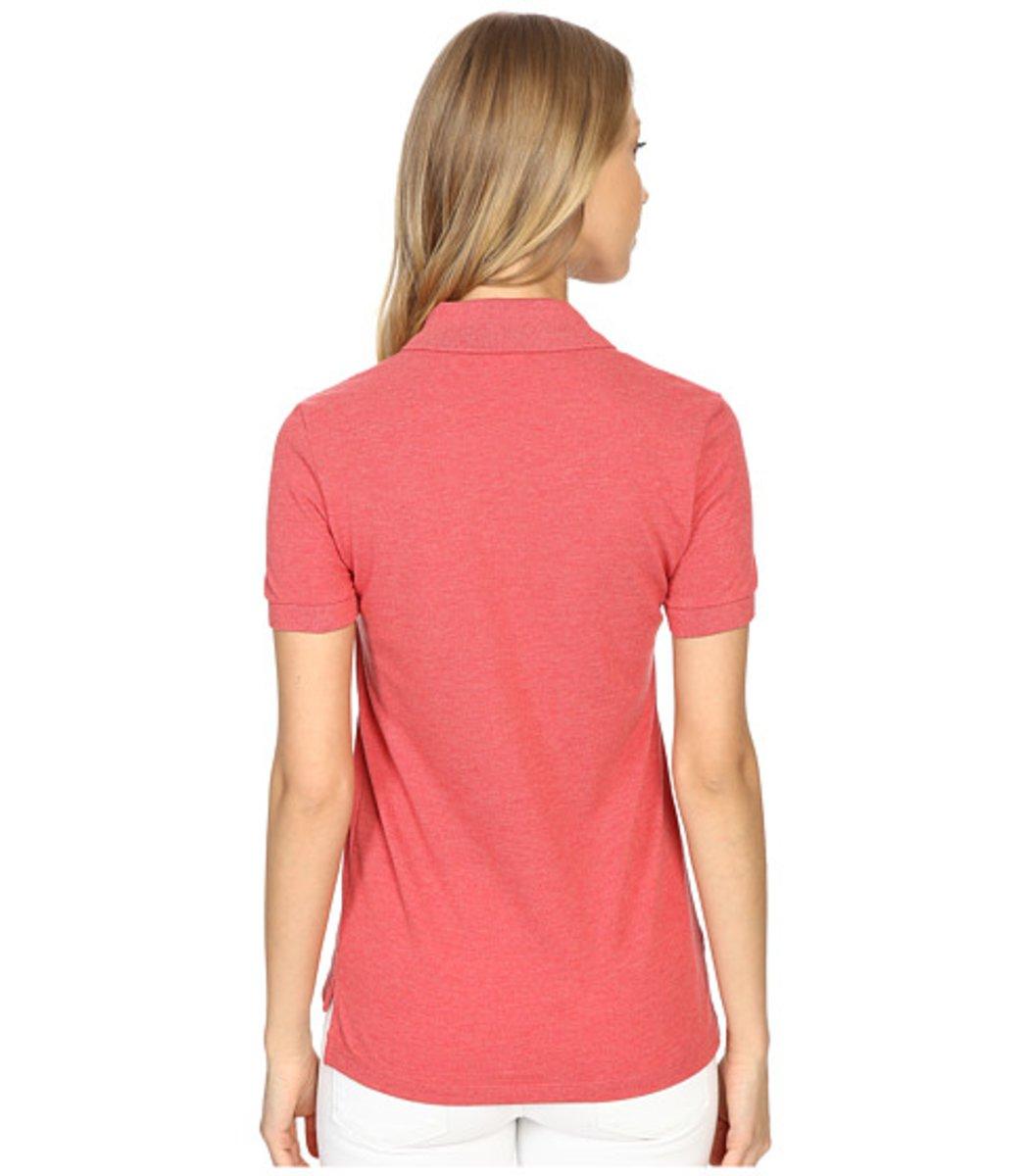Женская персиковая футболка поло Lacoste - персиковый - Вид 2