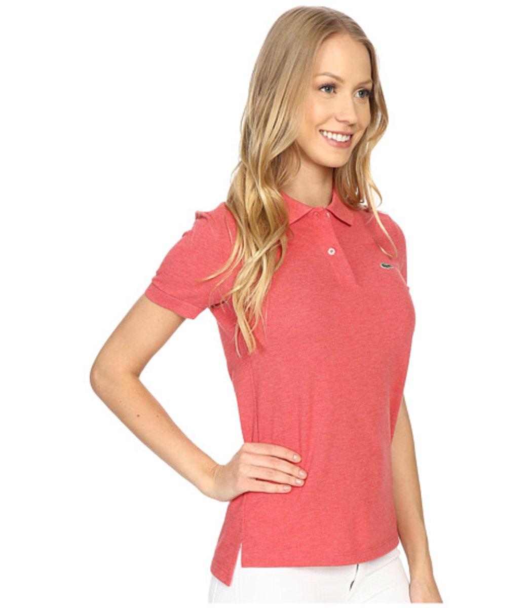 Женская персиковая футболка поло Lacoste - персиковый - Вид 4