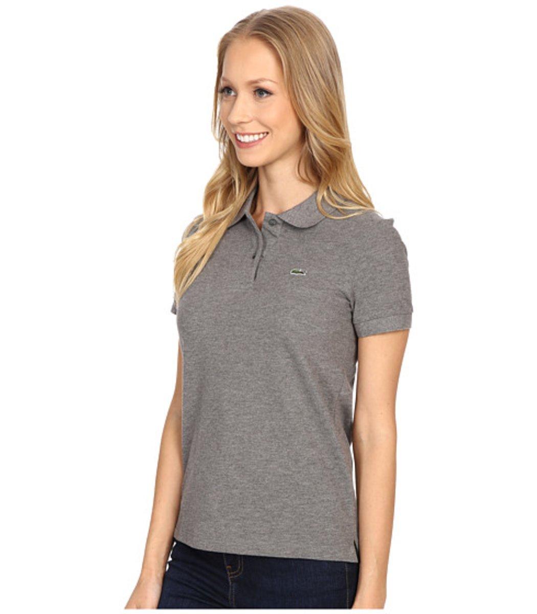 Женская серая футболка поло Lacoste - серый - Вид 3