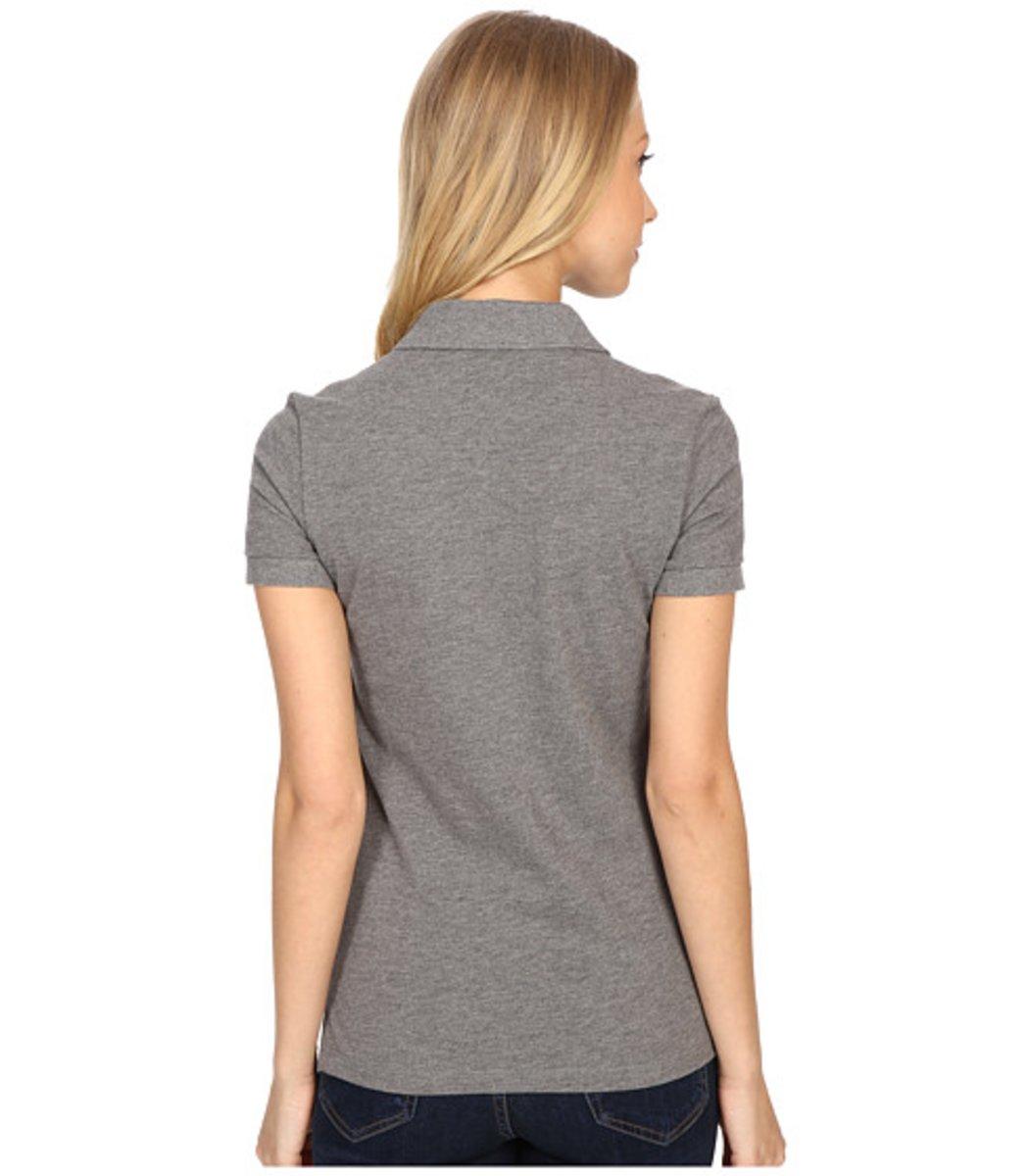 Женская серая футболка поло Lacoste - серый - Вид 2