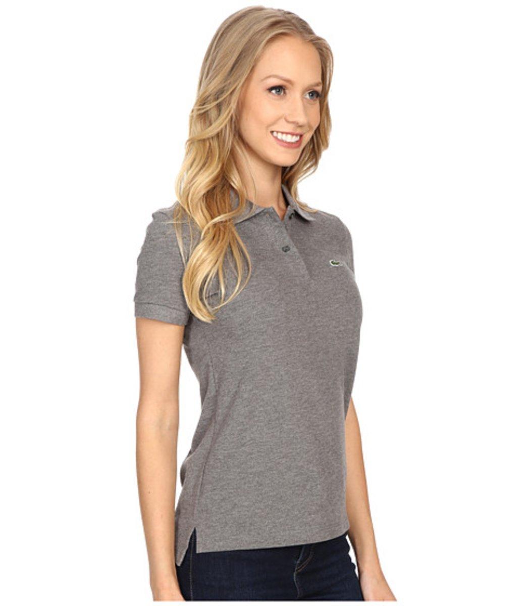 Женская серая футболка поло Lacoste - серый - Вид 4