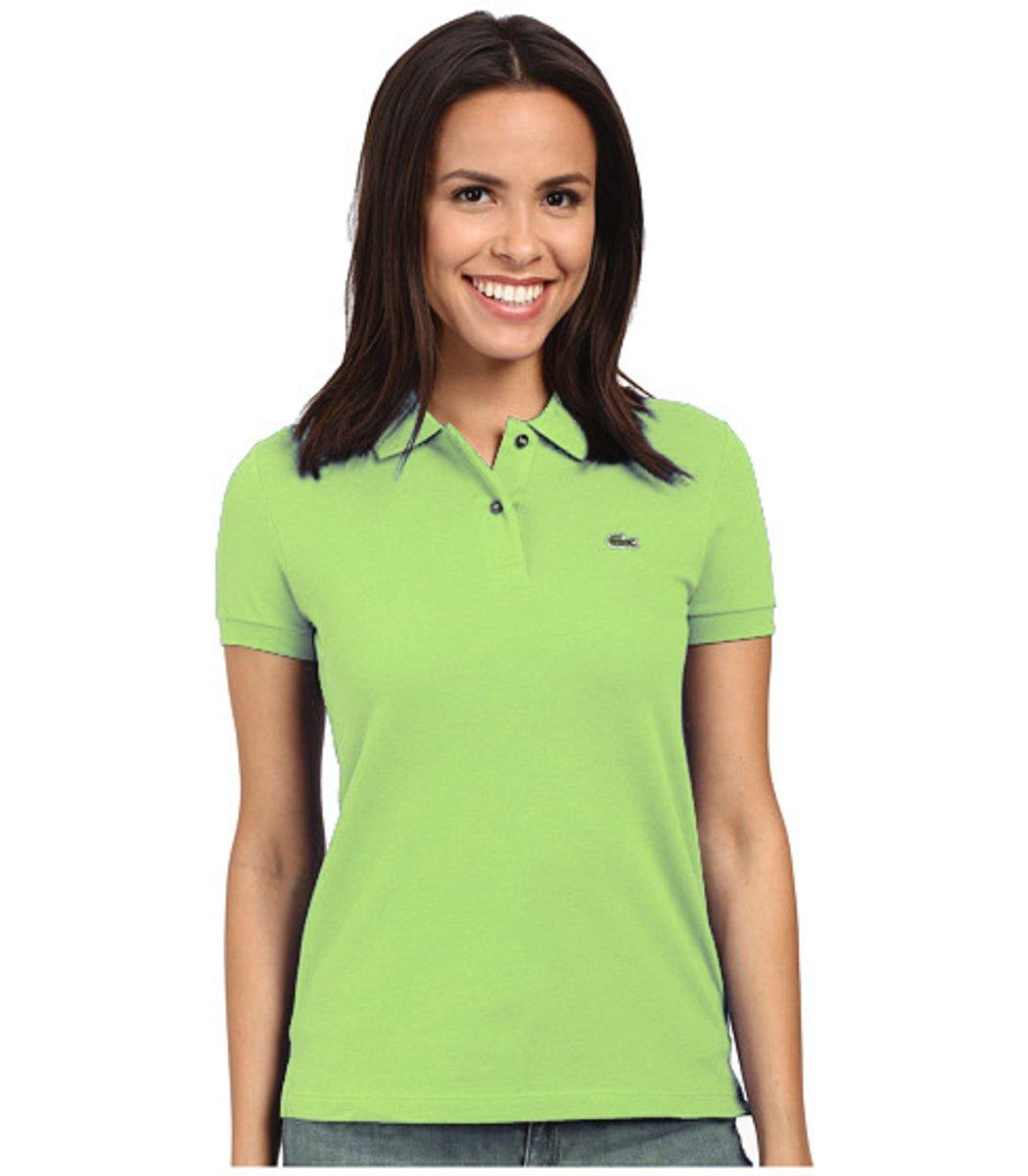 Женская салатовая футболка поло Lacoste  - салатовый - Вид 1