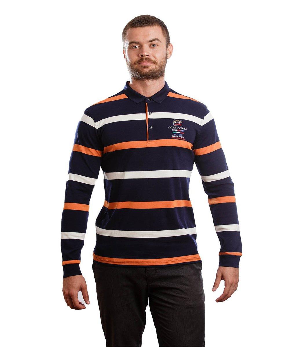 Сине-оранжевое поло с длинным рукавом Paul Shark ST1 - Синий - Вид 2