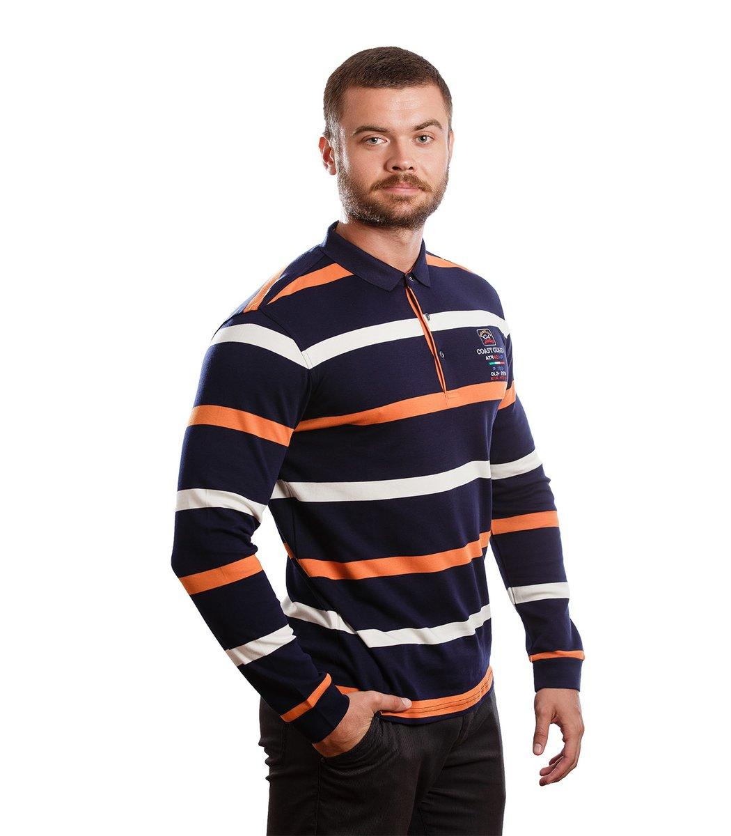 Сине-оранжевое поло с длинным рукавом Paul Shark ST1 - Синий - Вид 3