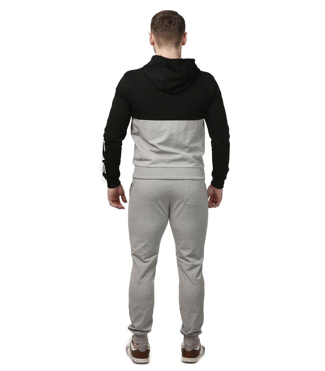 Спортивный костюм с капюшоном EA7 (черный/серый)
