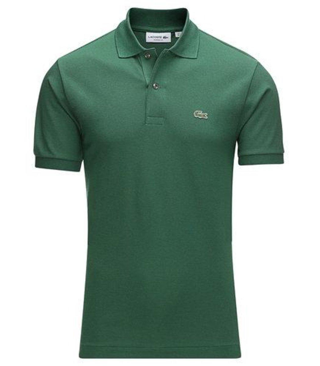 Мужская темно-зеленая футболка поло Lacoste  - темно-зеленый - Вид 1