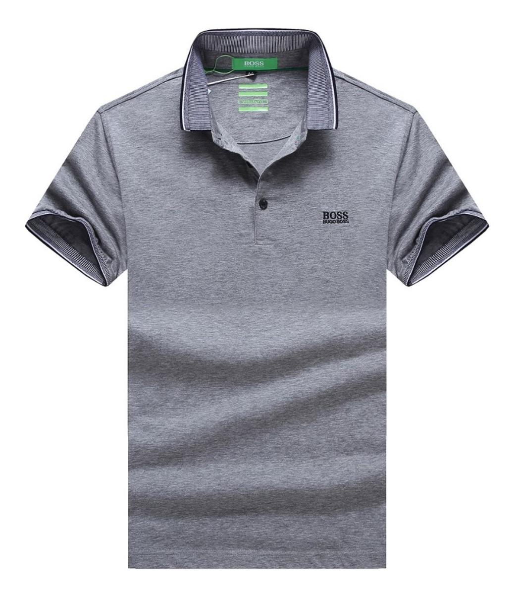 Мужская серая футболка поло Hugo Boss - серый - Вид 1