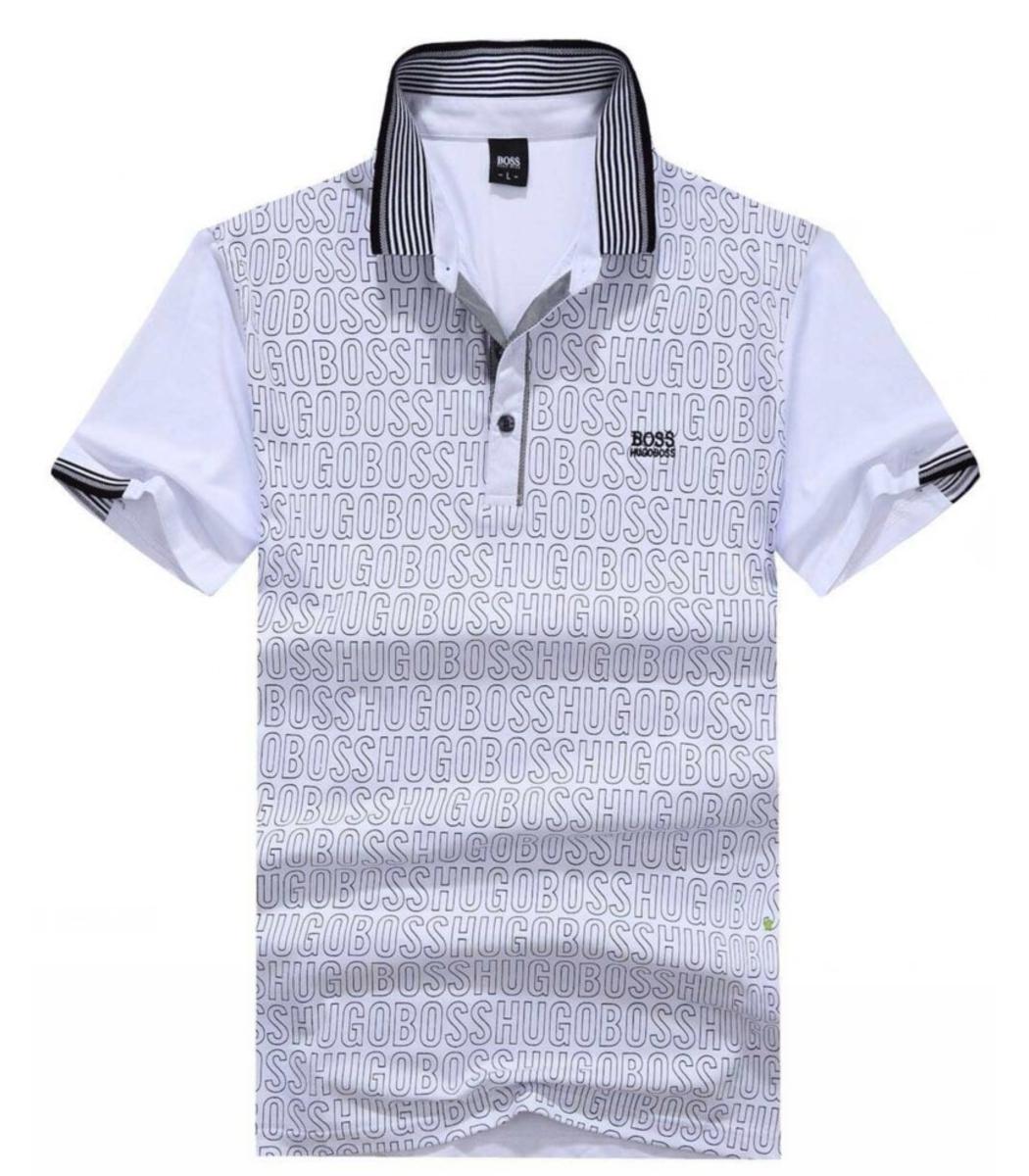 Мужская белая футболка поло Hugo Boss с принтом - белый - Вид 1