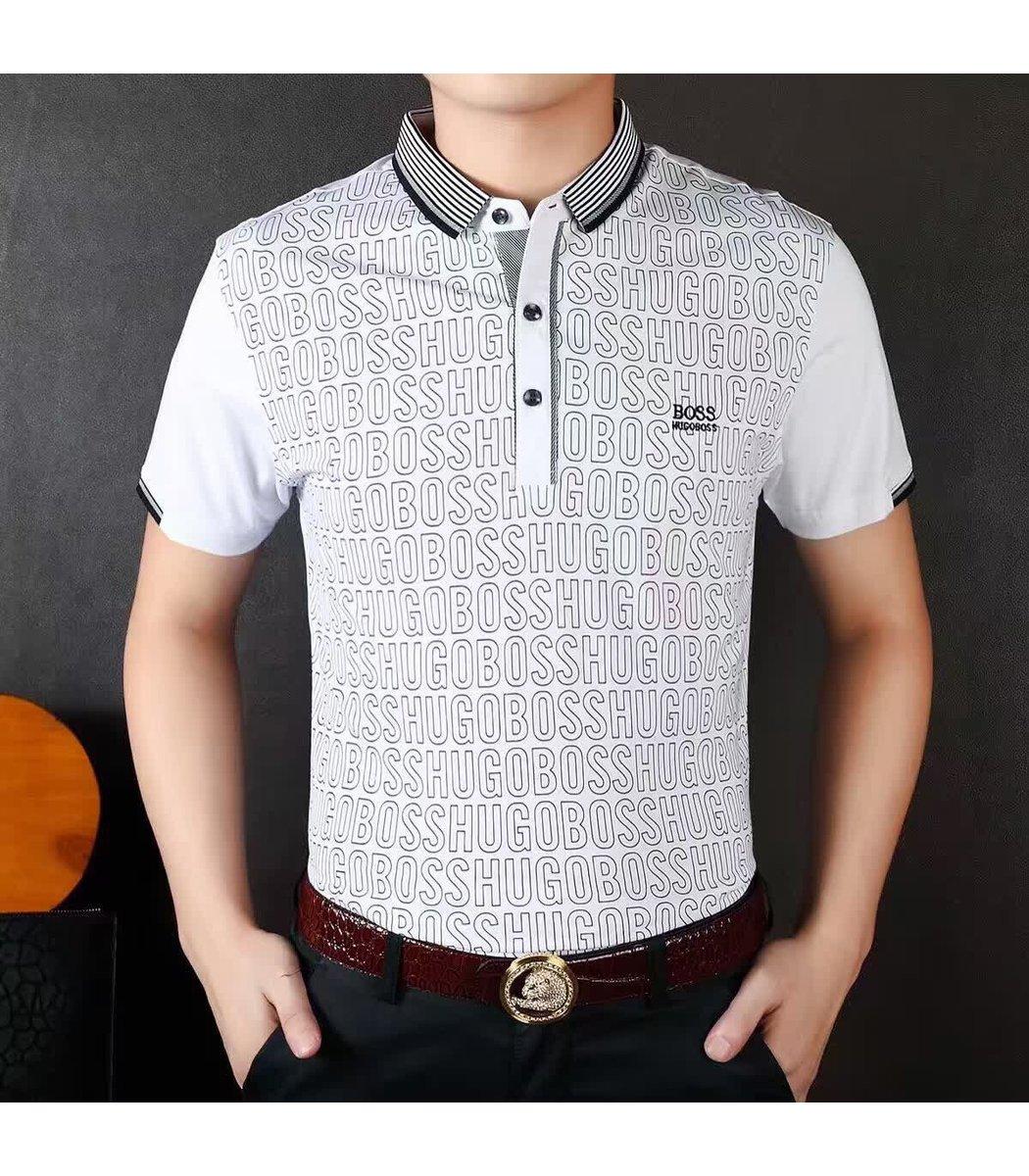 Мужская белая футболка поло Hugo Boss с принтом - белый - Вид 2