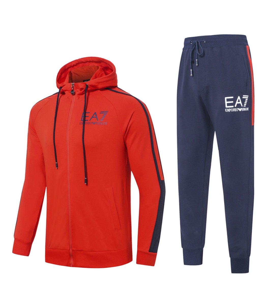 Оранжевый спортивный костюм EA7 с капюшоном (SpE1)
