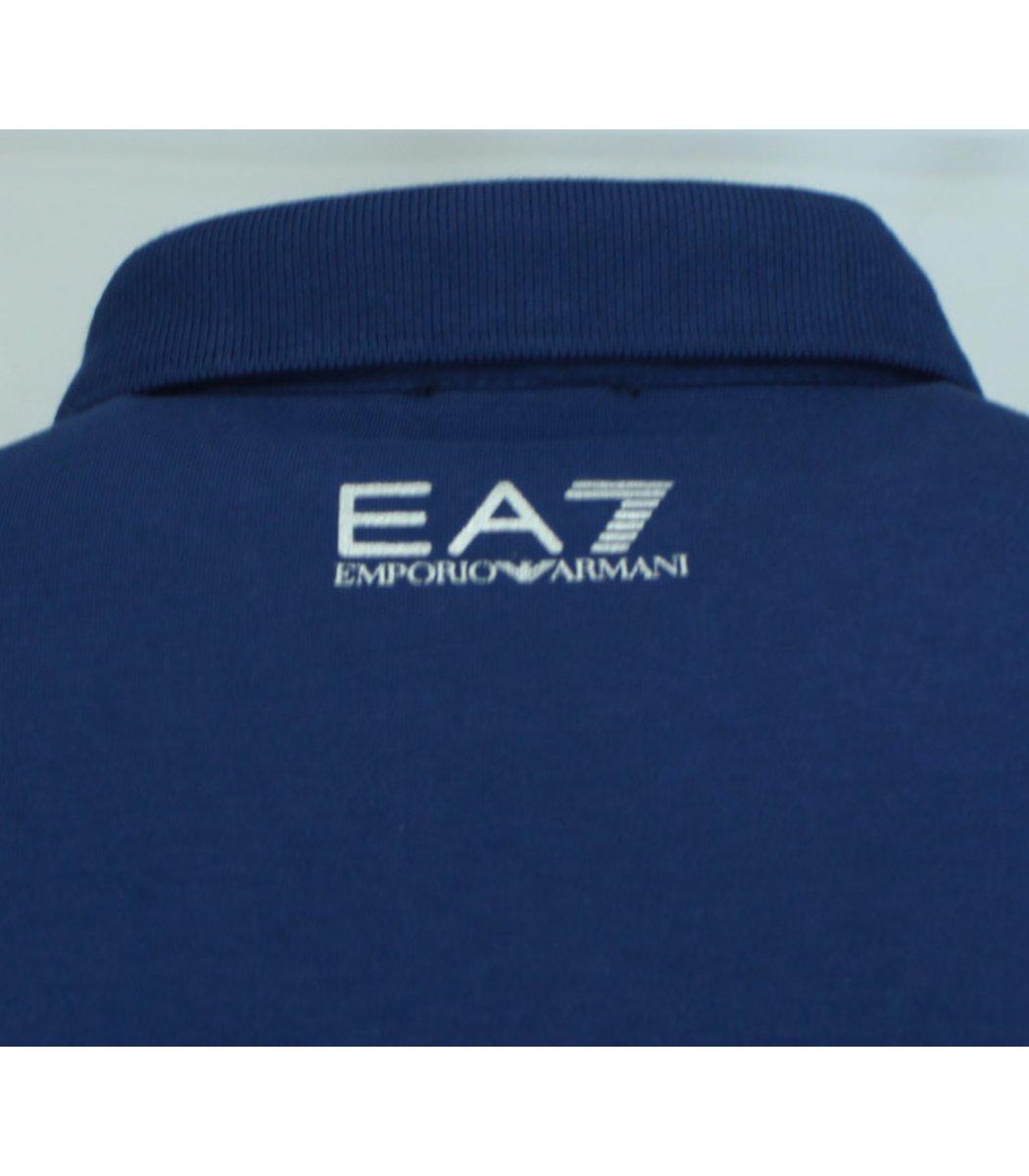 Синее поло с длинным рукавом EA7 PA1