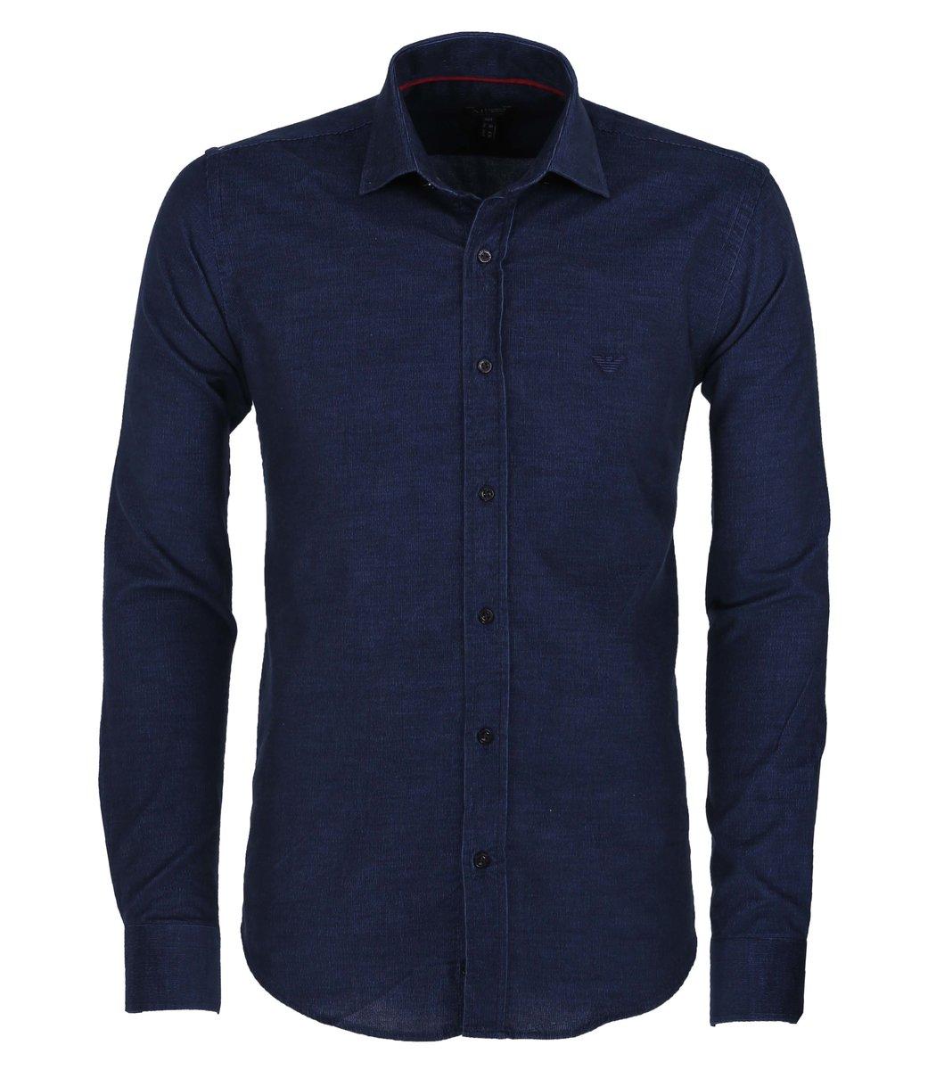 Синяя вельветовая рубашка Armani Jeans RAJ1