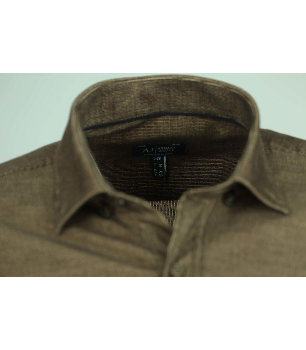 Хаки вельветовая рубашка Armani Jeans RAJ1
