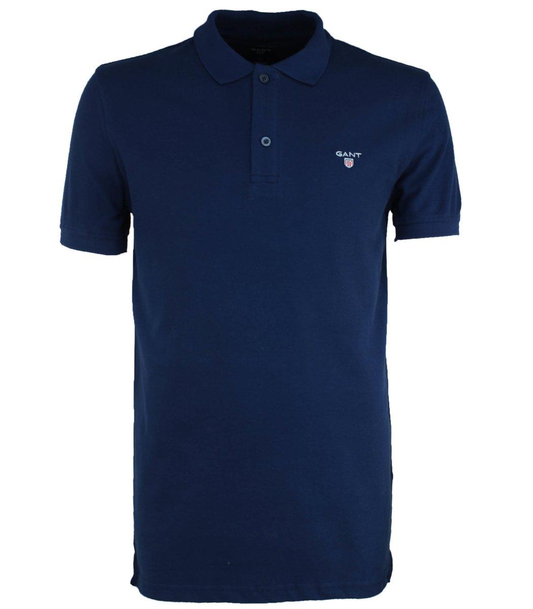 Тёмно-синяя классическая футболка поло Gant G2