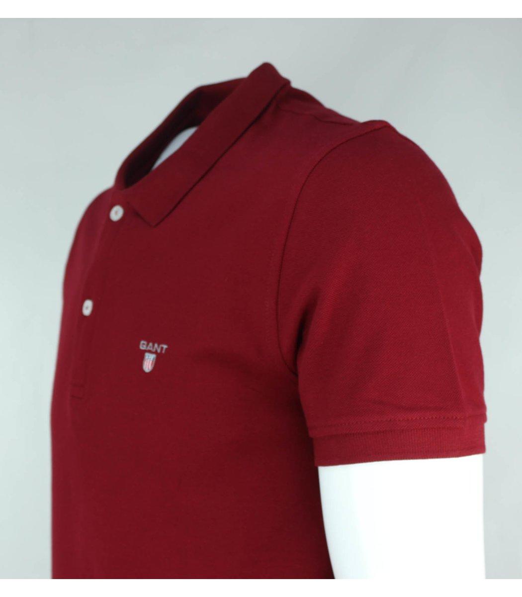Бордовая классическая футболка поло Gant G2