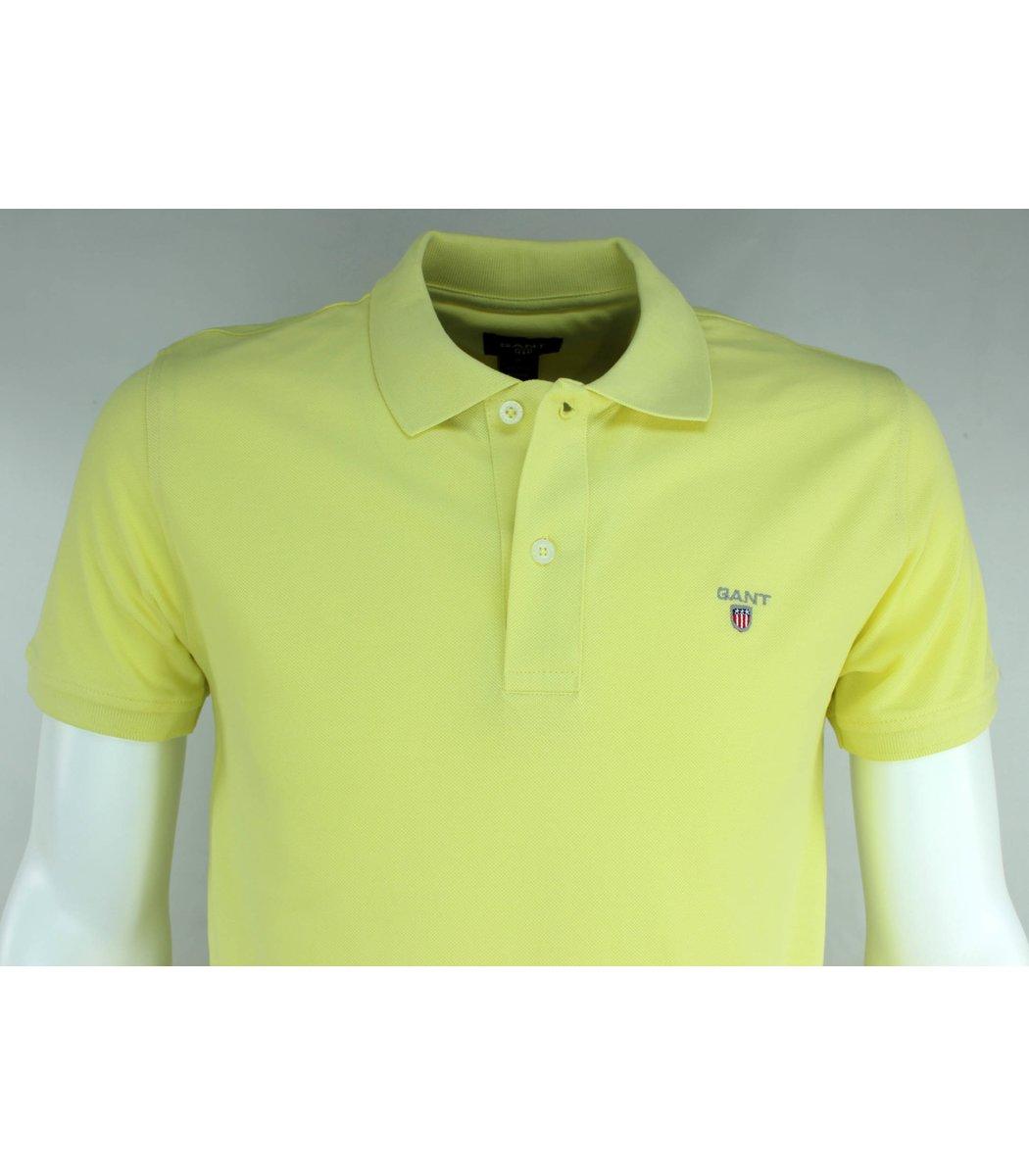 Желтая классическая футболка поло Gant G2