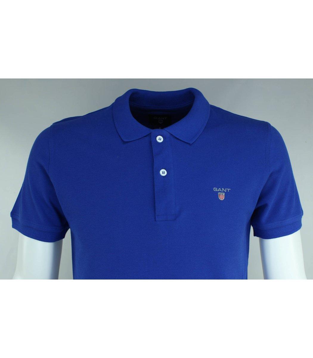Синяя классическая футболка поло Gant G2
