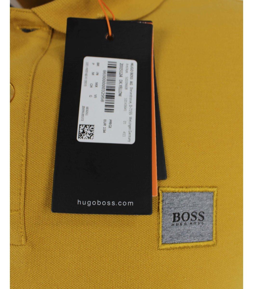 Горчичная футболка поло Hugo Boss MH2