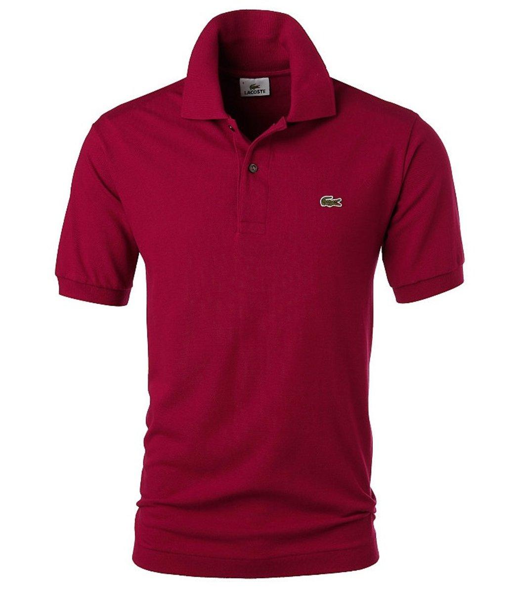 Мужская бордовая футболка поло Lacoste  - бордовый - Вид 1