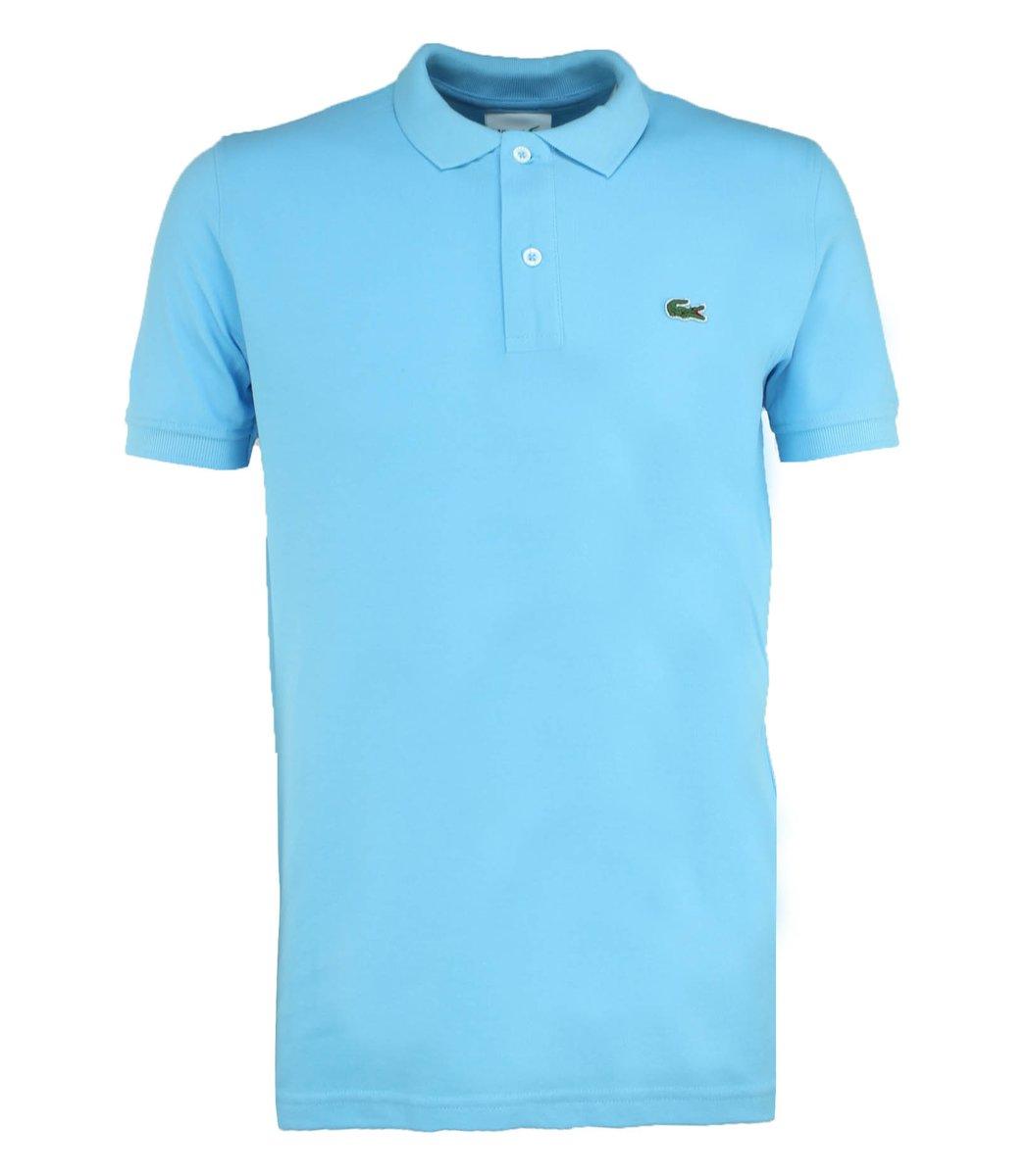 Голубая футболка поло Lacoste