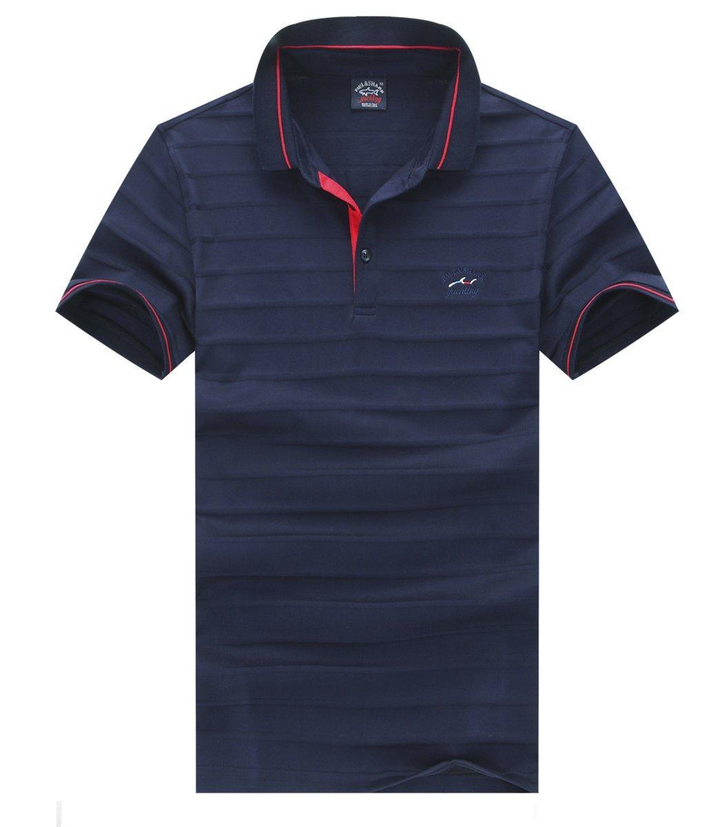 Темно-синяя футболка поло Paul&Shark с тактильной полосой NT1