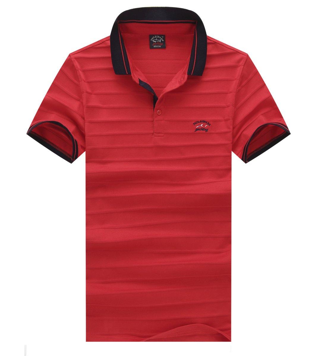 Красная футболка поло Paul&Shark с тактильной полосой NT1