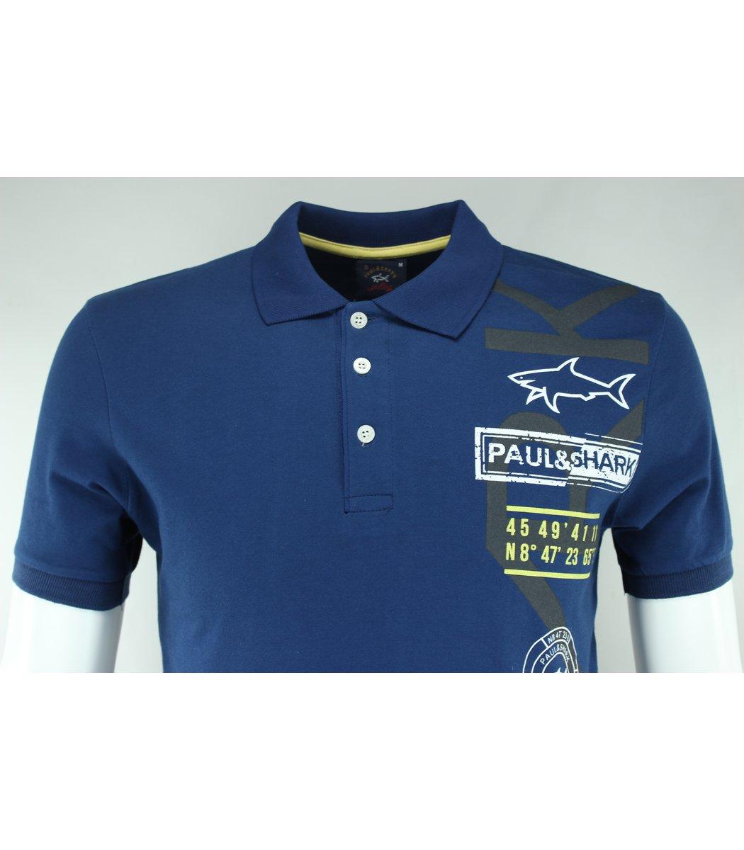 Тёмно-голубая футболка поло Paul&Shark Print