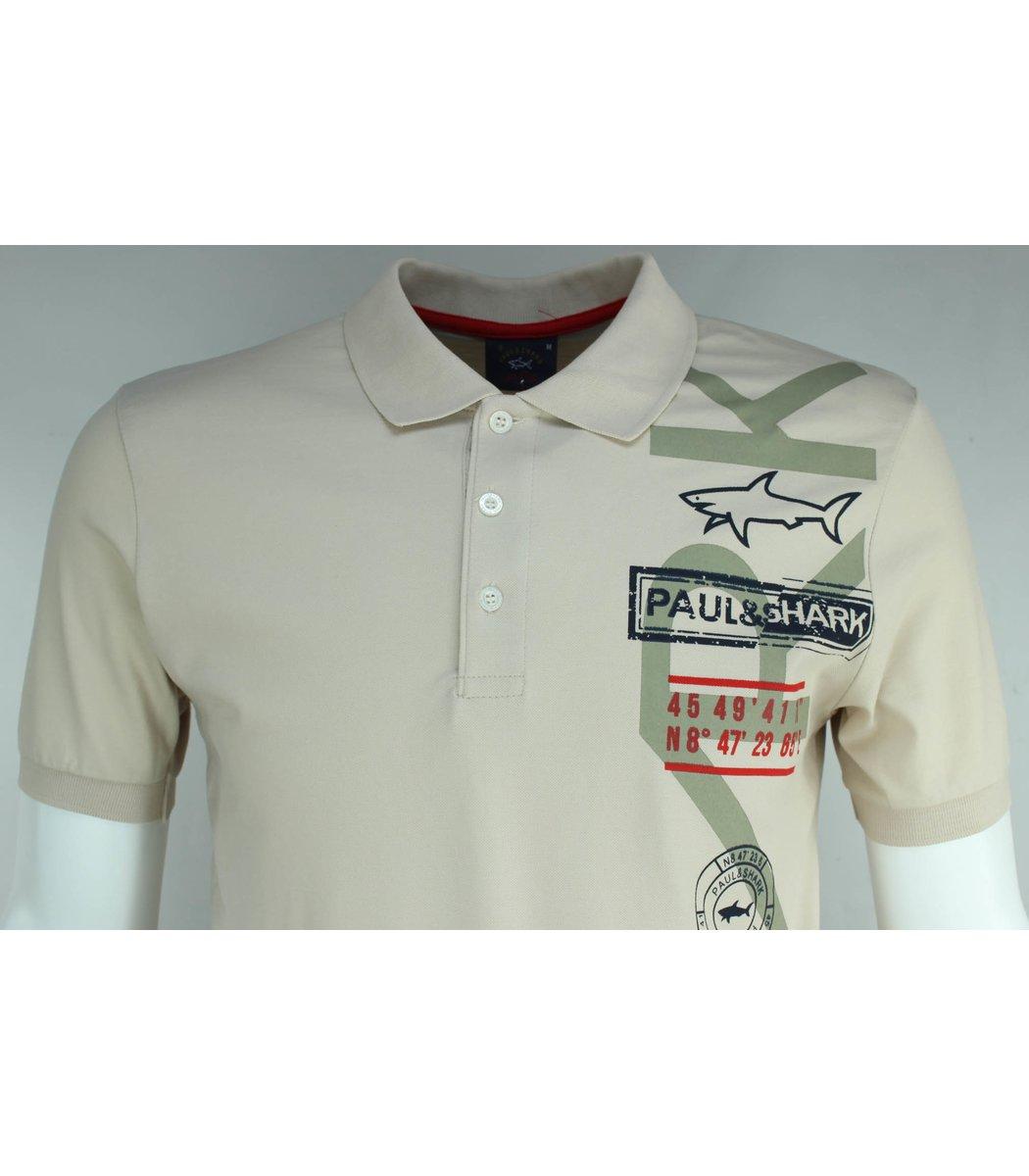Бежевая футболка поло Paul&Shark Print