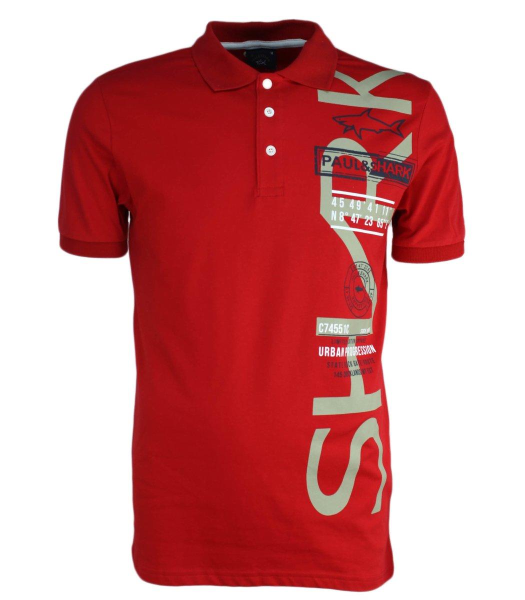 Красная футболка поло Paul&Shark Print