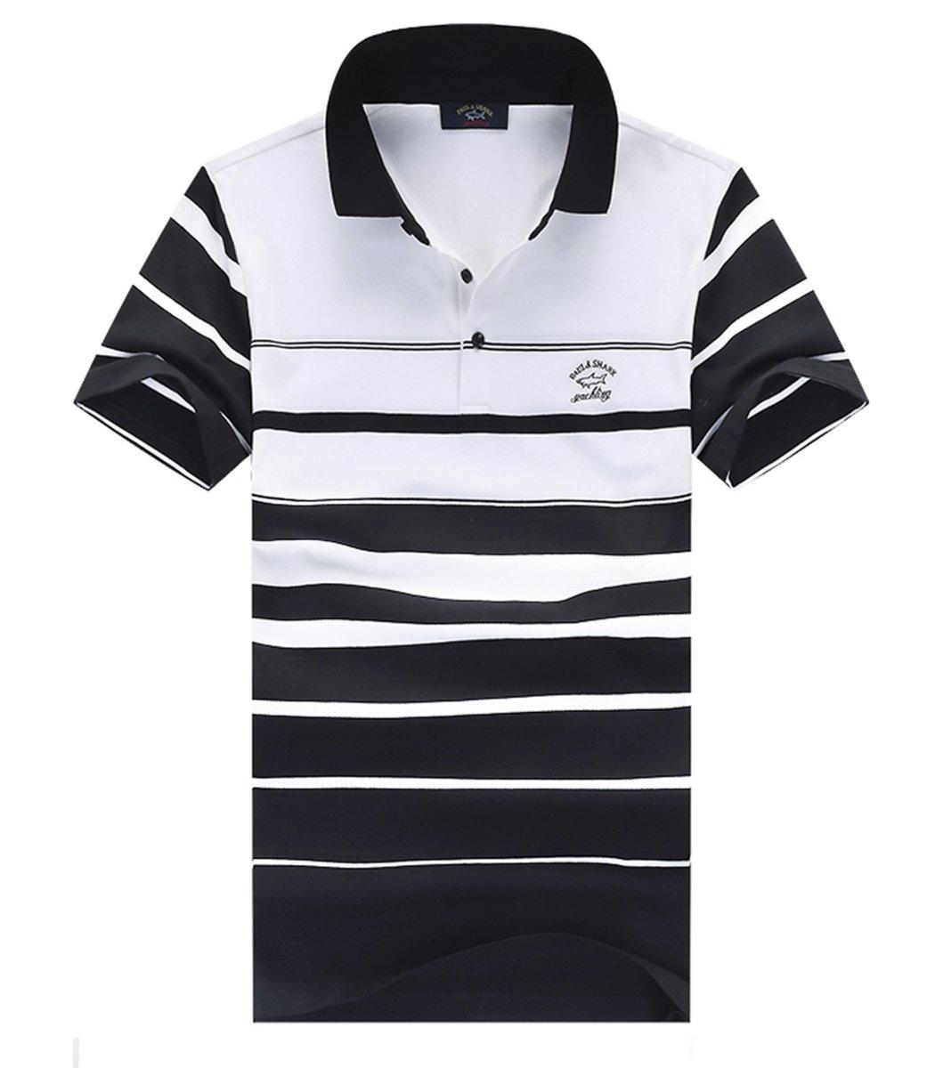 Черная футболка поло Paul&Shark в крупную полоску PS7
