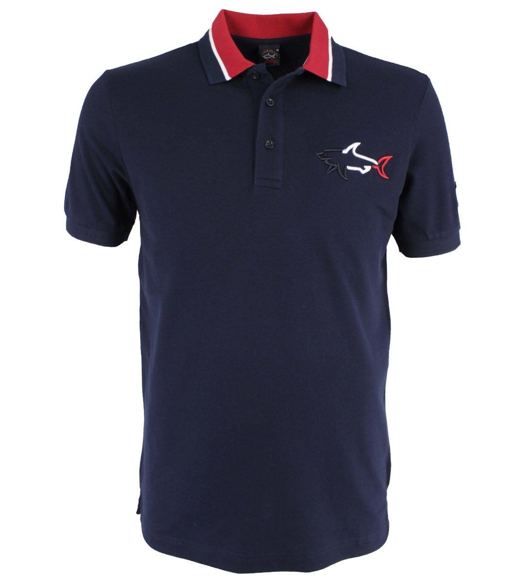Темно синий футболка поло Paul&Shark MPH1
