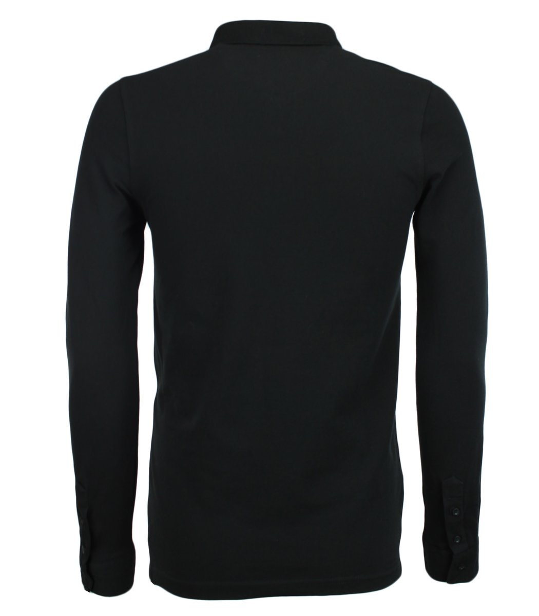 Чёрное поло с длинным рукавом, воротник стойка, Lacoste PL2