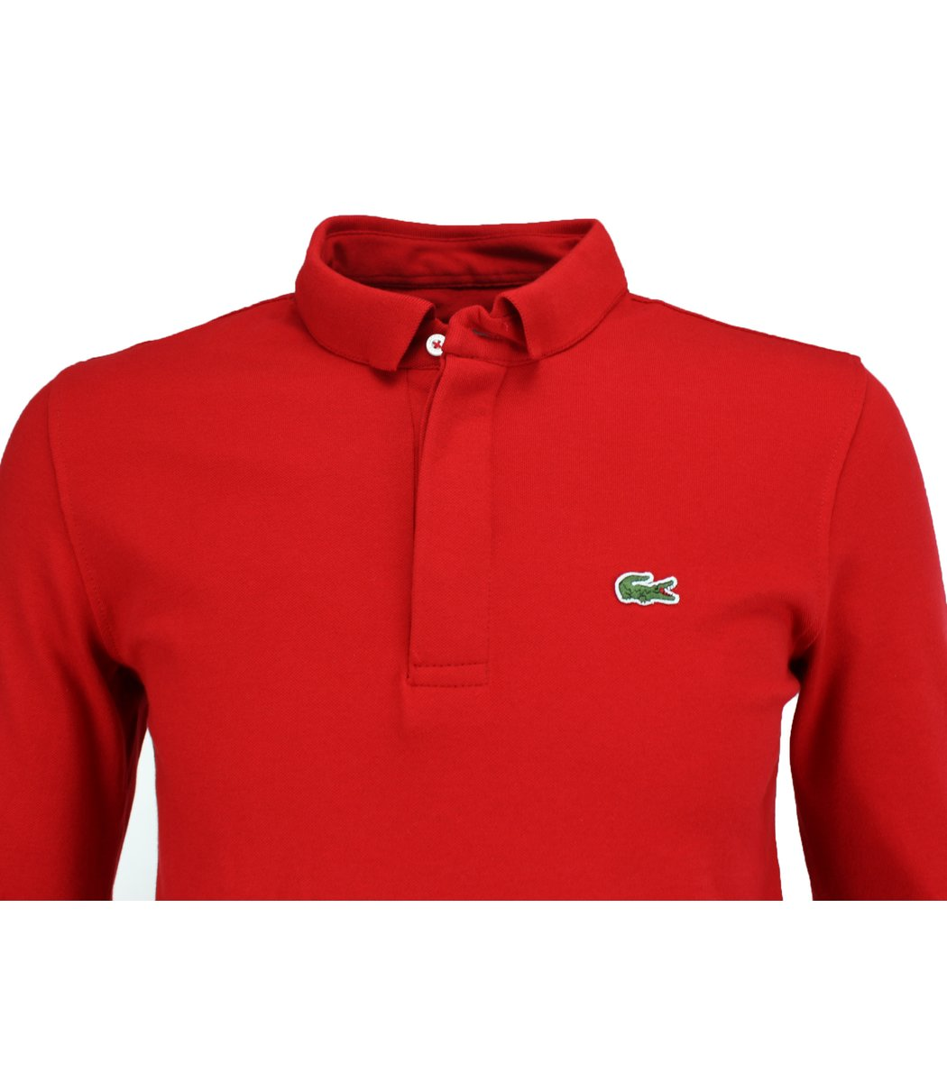 Красное поло с длинным рукавом, воротник стойка, Lacoste PL2