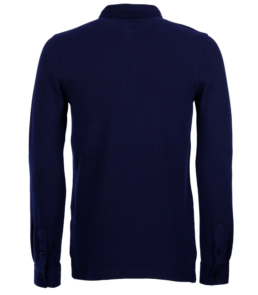Тёмно-синее поло с длинным рукавом, воротник стойка, Lacoste PL2