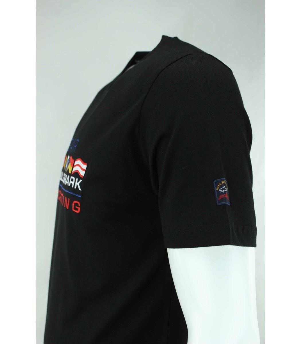 Чёрная футболка Paul&Shark с вышивкой FP5