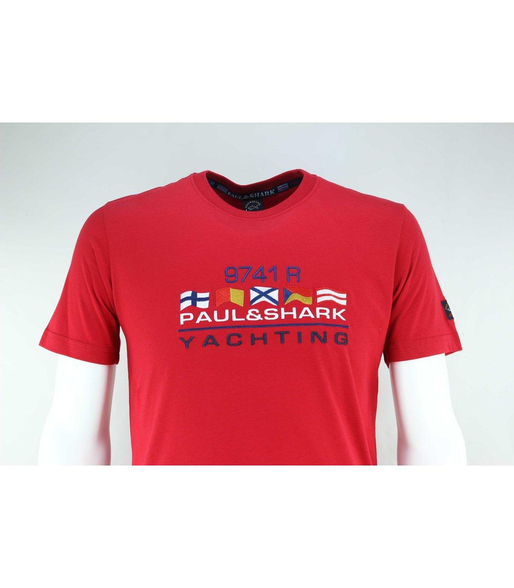Красная футболка Paul&Shark с вышивкой FP5