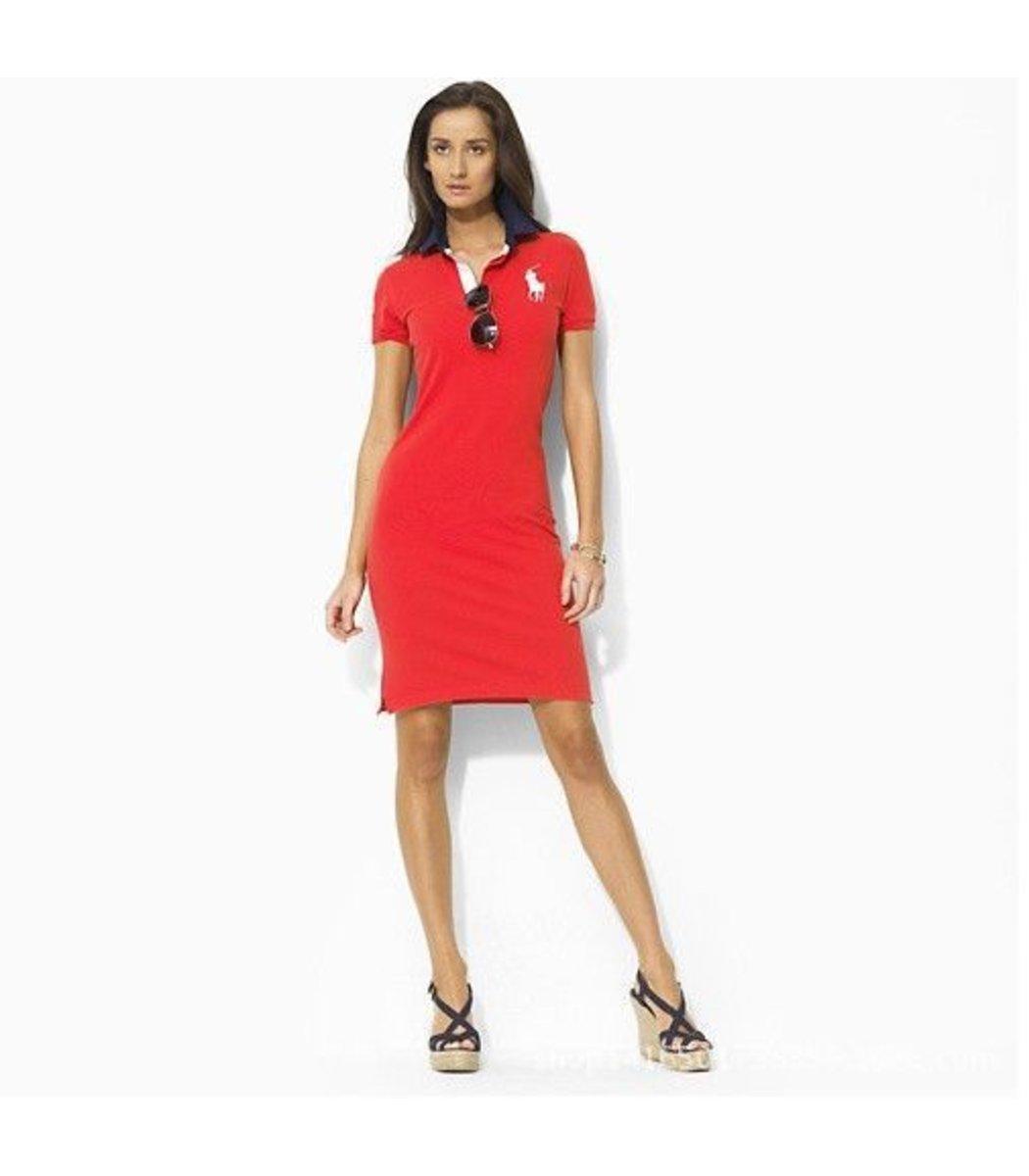 Красное платье поло Ralph Lauren