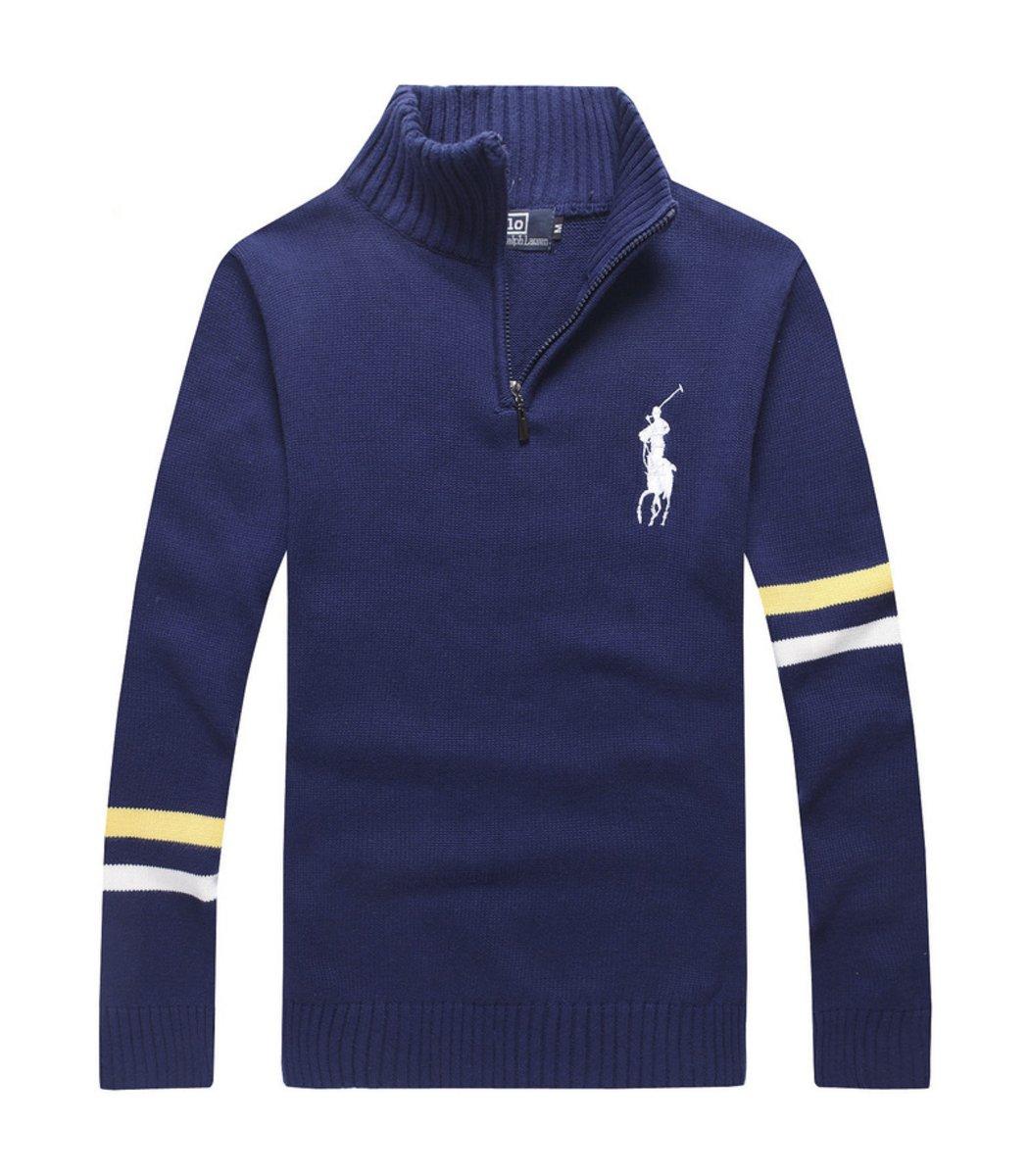Синий свитер POLO Ralph Lauren воротник стойка на молнии SR1