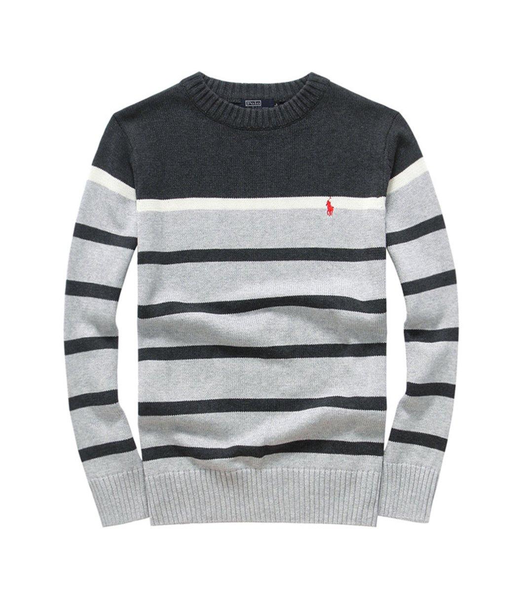 Темно-серый джемпер POLO Ralph Lauren в серую полоску JR2