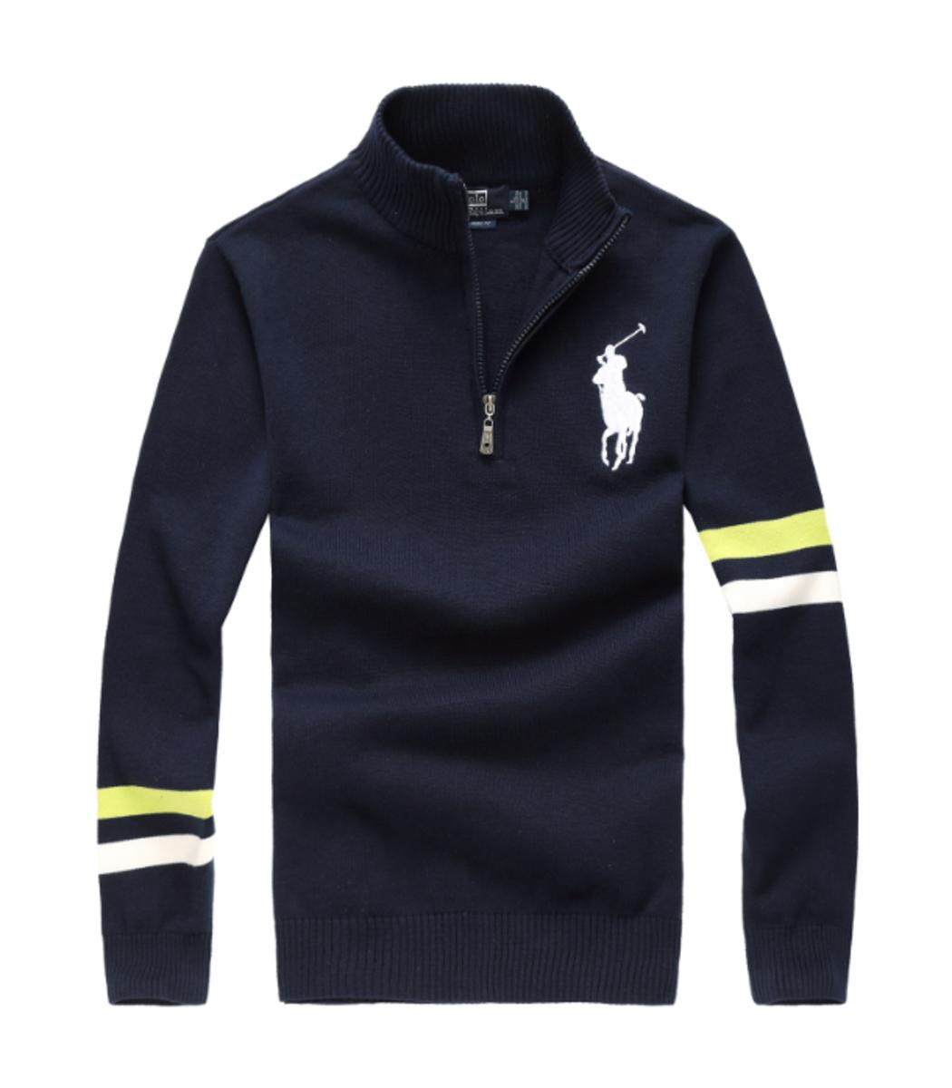 Темно-синий свитер POLO Ralph Lauren воротник стойка на молнии SR1