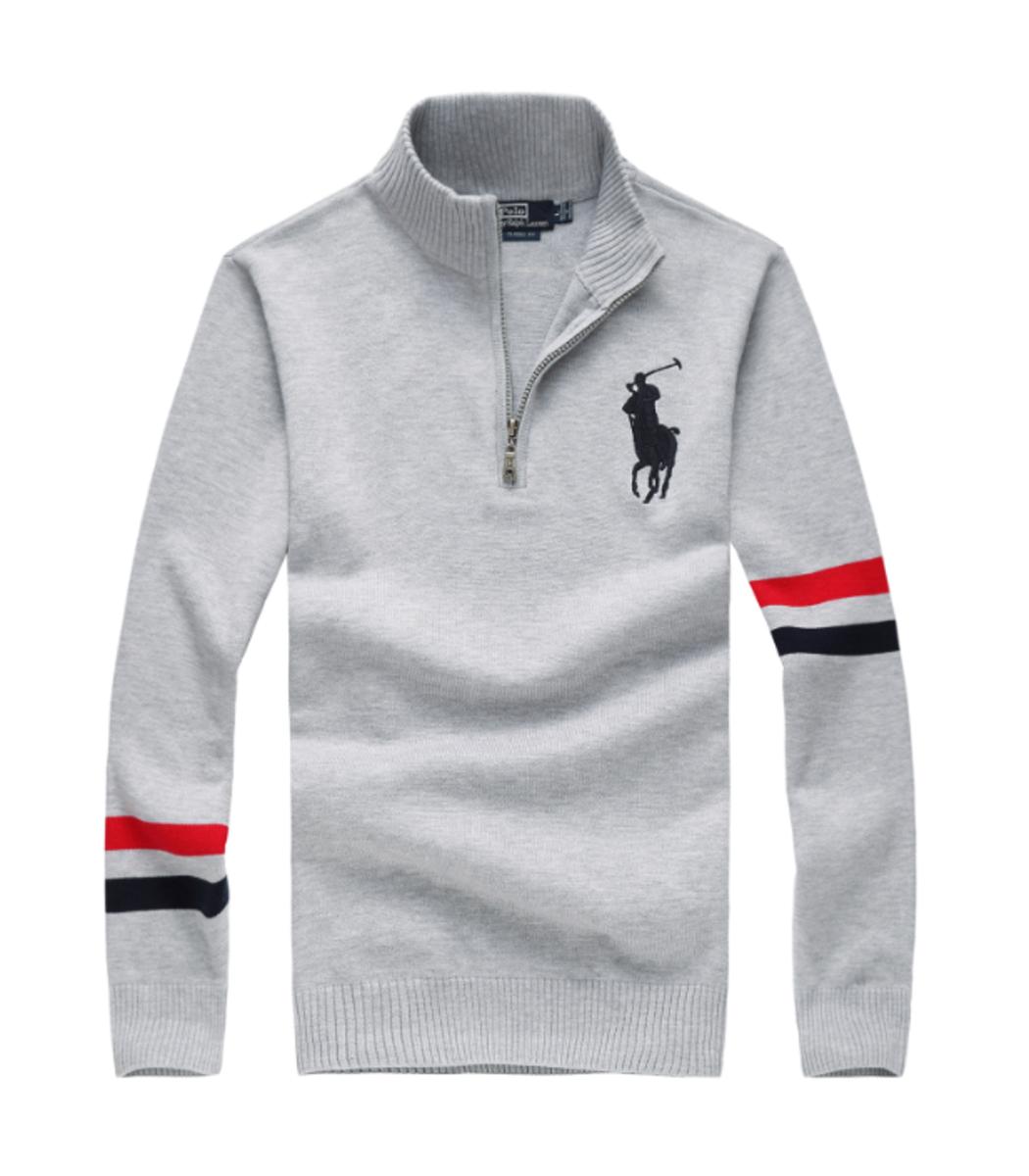 Серый свитер POLO Ralph Lauren воротник стойка на молнии SR1