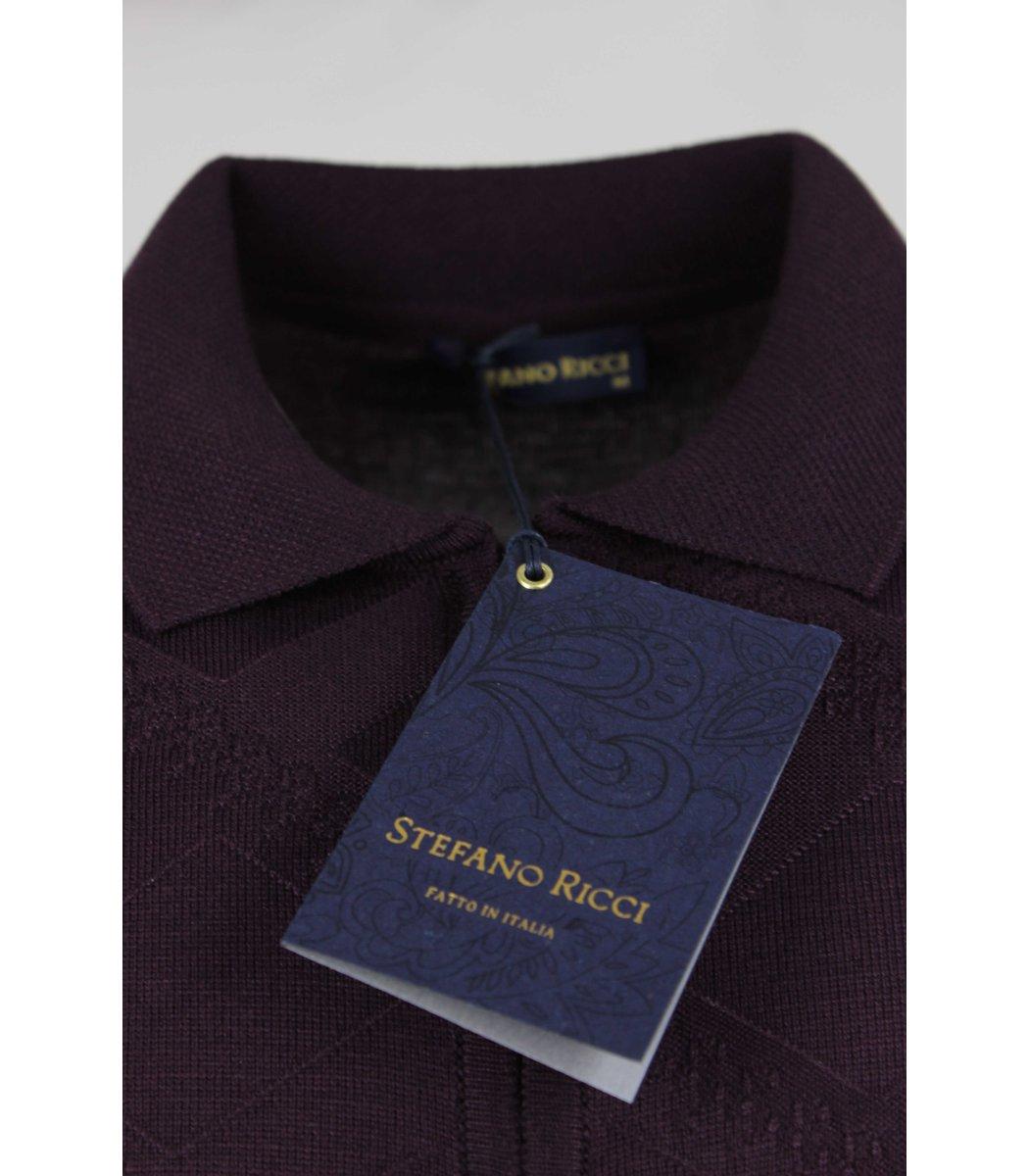 Фиолетовое поло с длинным рукавом Stefano Ricci 7230
