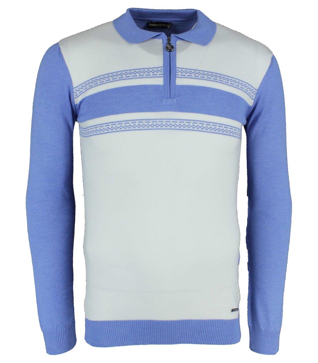 Голубое поло с длинным рукавом Stefano Ricci 7180