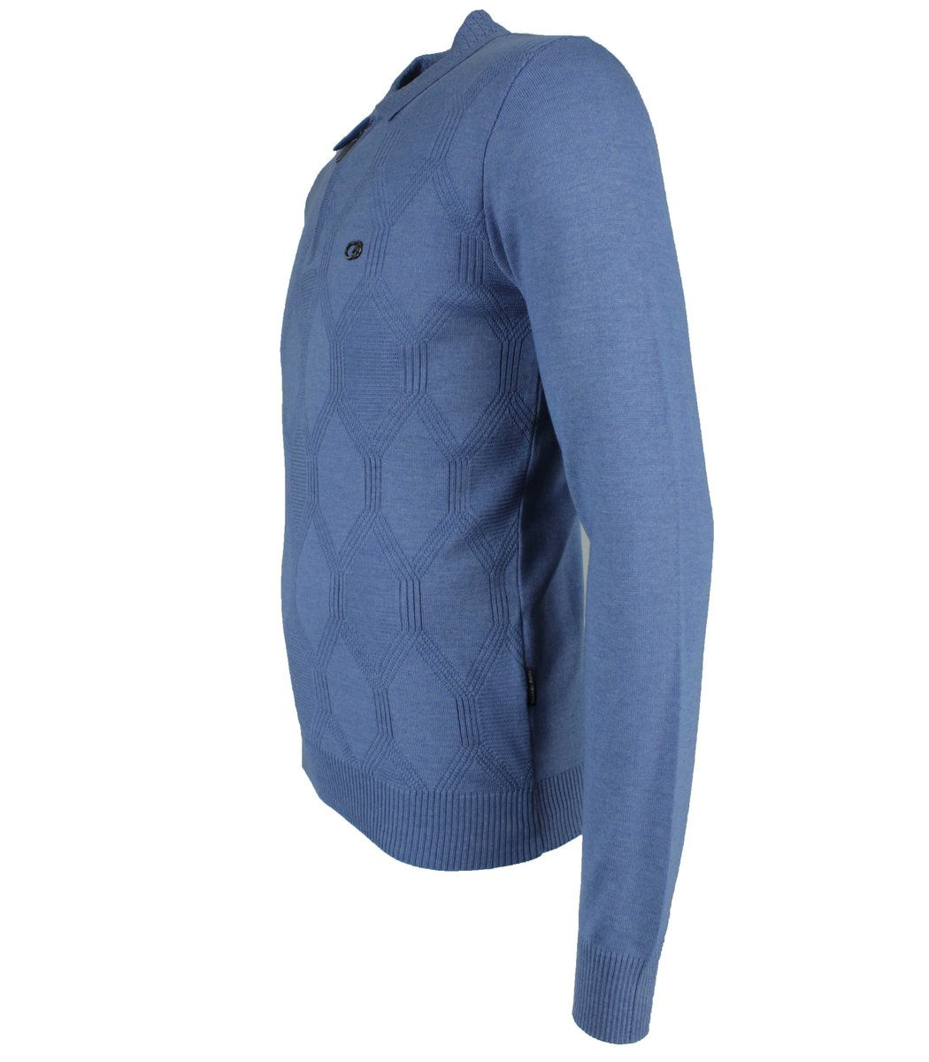 Голубое поло с длинным рукавом Stefano Ricci 6175