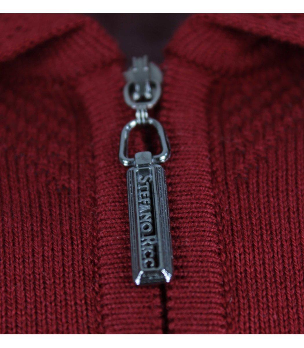 Бордовое поло с длинным рукавом Stefano Ricci 6175
