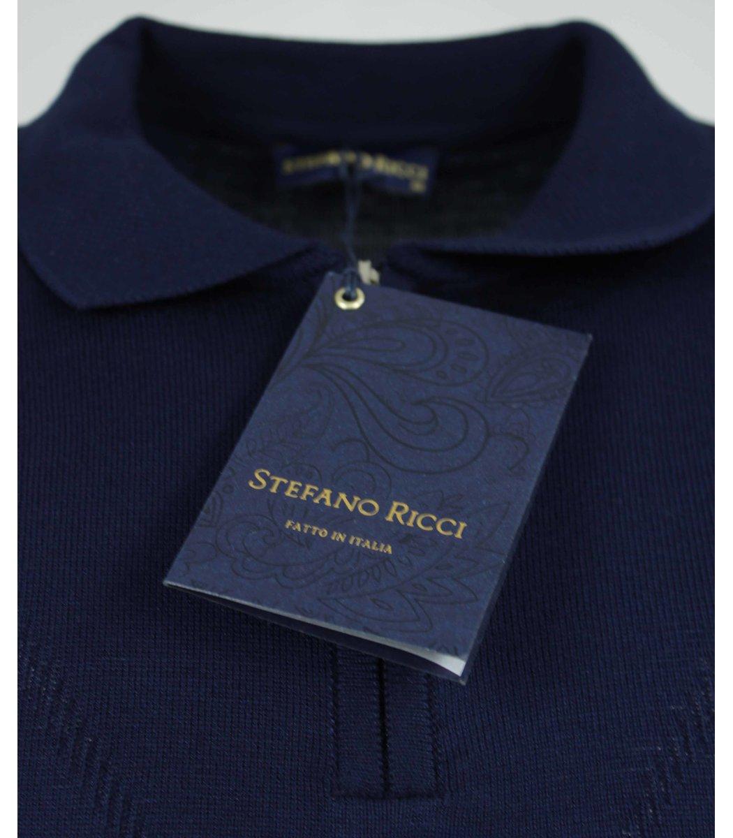 Темно-синее поло с длинным рукавом Stefano Ricci 7330
